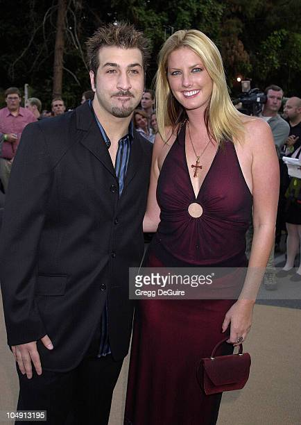 Joey Fatone of 'Nsync' Wendy Thorlakson during HBO Networks 'Band Of Brothers' Hollywood Premiere at The Hollywood Bowl in Hollywood California...