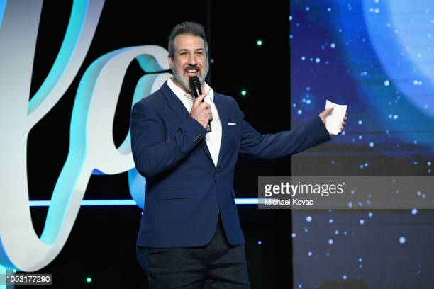 Joey Fatone speak onstage at the 2018 Make A Wish Gala at The Beverly Hilton Hotel on October 24 2018 in Beverly Hills California