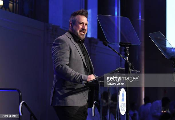 Joey Fatone speaks onstage at Autism Speaks Celebrity Chef Gala on Wall Street at Cipriani Wall Street on October 10 2017 in New York City