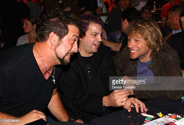 Joey Fatone Tommy Lipnick and Jon Bon Jovi during Beachers Madhouse at The Hard Rock Hotel and Casino Resort in Las Vegas at The Hard Rock Hotel and...