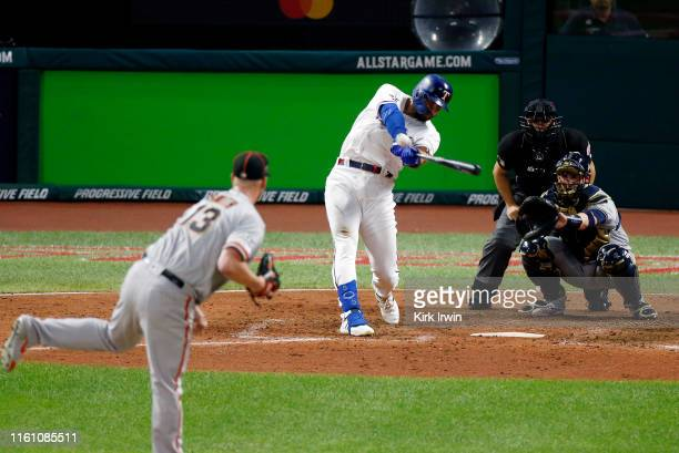 Joey Gallo of the Texas Rangers and the American League hits a solo home run during the seventh inning against the National League during the 2019...