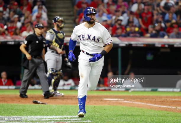 Joey Gallo of the Texas Rangers and the American League runs the bases after hitting a solo home run during the seventh inning against the National...
