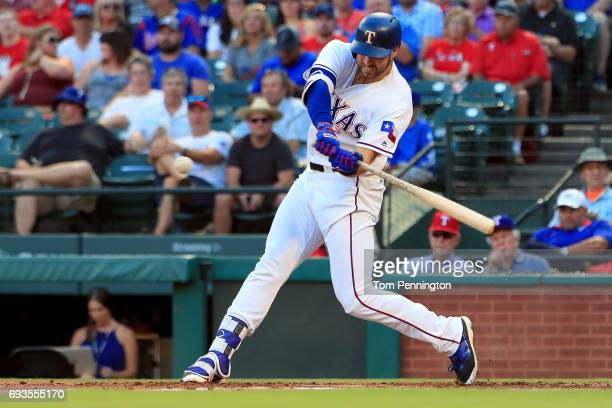 Joey Gallo of the Texas Rangers at bat against the New York Mets in the bottom of the first inning at Globe Life Park in Arlington on June 6 2017 in...