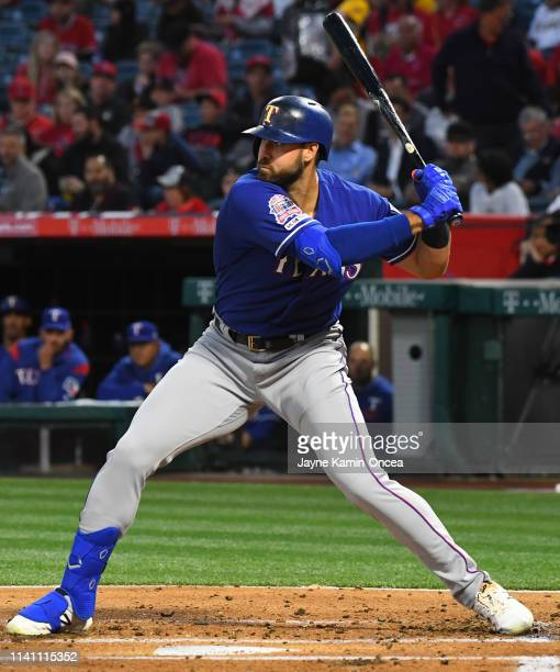 Joey Gallo of the Texas Rangers at bat during the game against the Los Angeles Angels of Anaheim at Angel Stadium of Anaheim on April 5 2019 in...