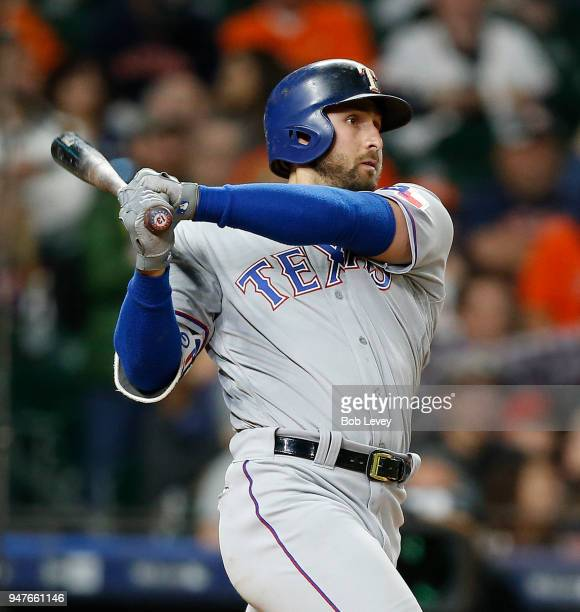 Joey Gallo of the Texas Rangers bats against the Houston Astros at Minute Maid Park on April 15 2018 in Houston Texas All players are wearing in...