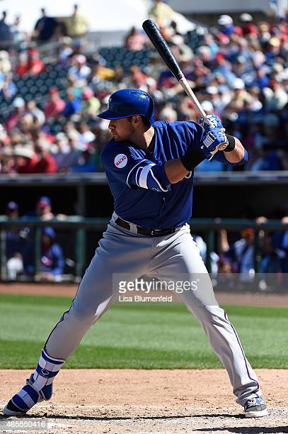 Joey Gallo of the Texas Rangers bats against the Kansas City Royals at Surprise Stadium on March 5 2015 in Surprise Arizona