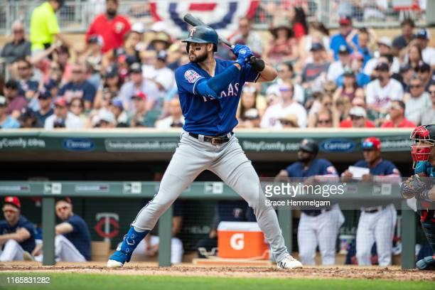 Joey Gallo of the Texas Rangers bats against the Minnesota Twins on July 6 2019 at the Target Field in Minneapolis Minnesota The Twins defeated the...