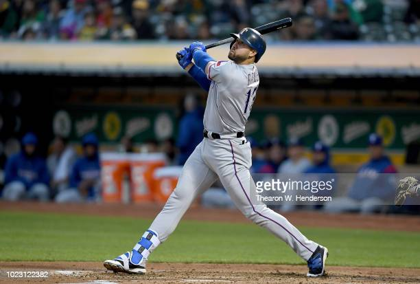 Joey Gallo of the Texas Rangers bats against the Oakland Athletics in the top of the second inning at Oakland Alameda Coliseum on August 20 2018 in...