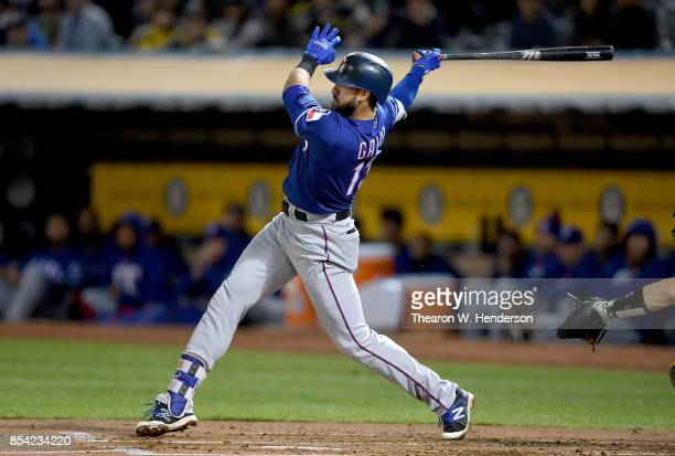 Joey Gallo of the Texas Rangers bats against the Oakland Athletics in the top of the second inning at Oakland Alameda Coliseum on September 22 2017...