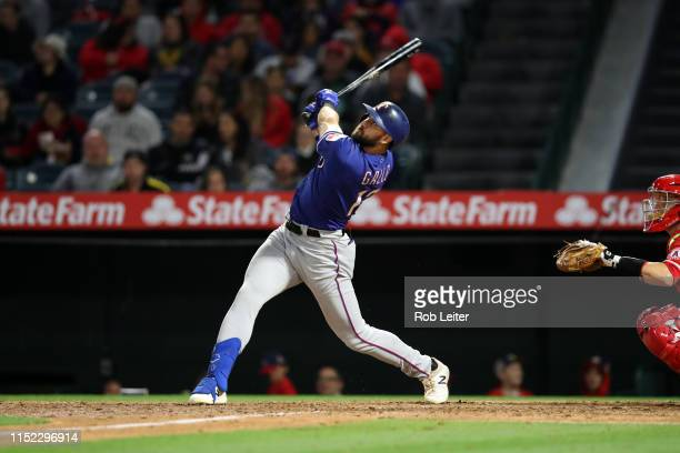 Joey Gallo of the Texas Rangers bats during the game against the Los Angeles Angels at Angel Stadium on May 25 2019 in Anaheim California The Angels...