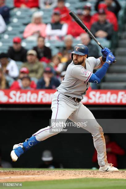 Joey Gallo of the Texas Rangers bats during the game against the Los Angeles Angels at Angel Stadium on May 26 2019 in Anaheim California The Angels...