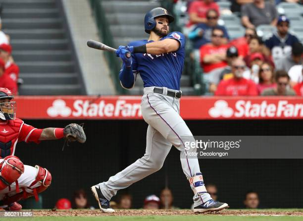 Joey Gallo of the Texas Rangers bats in the fourth inning during the MLB game against the Los Angeles Angels of Anaheim at Angel Stadium of Anaheim...