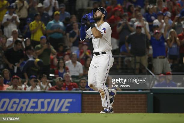 Joey Gallo of the Texas Rangers celebrates his solo home run against the Los Angeles Angels of Anaheim during the third inning at Globe Life Park in...