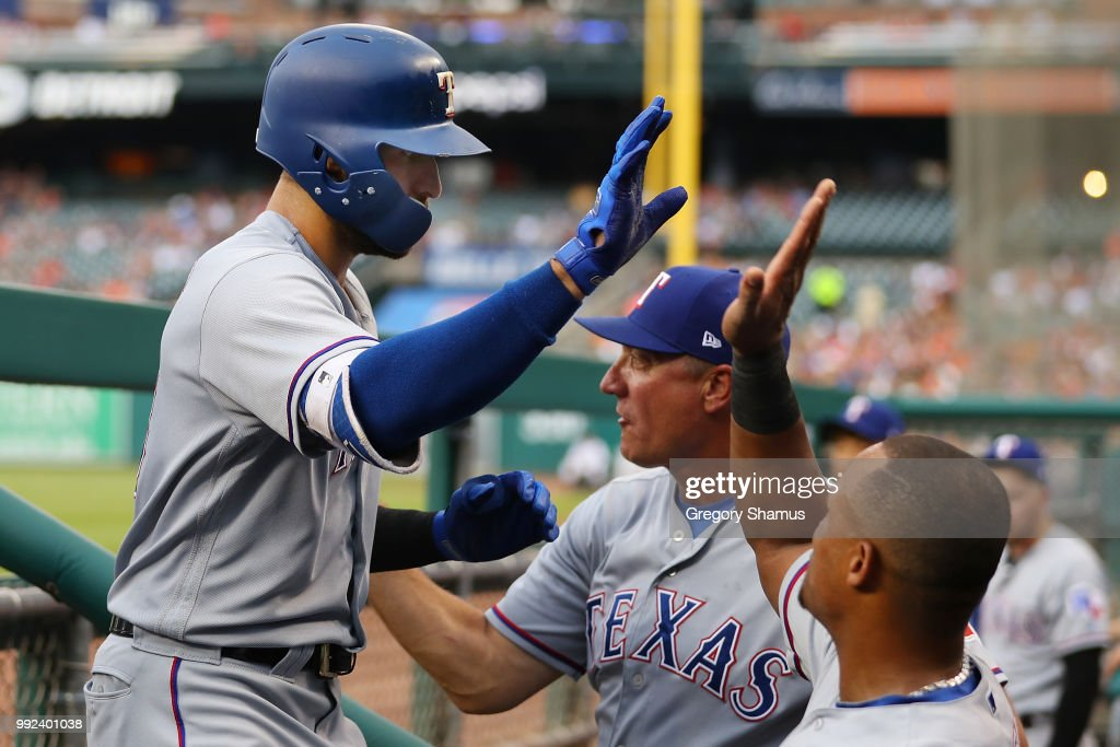 Joey Gallo #13 of the Texas Rangers celebrates his two run second inning home run with teammates while playing the Detroit Tigers at Comerica Park on July 5, 2018 in Detroit, Michigan.