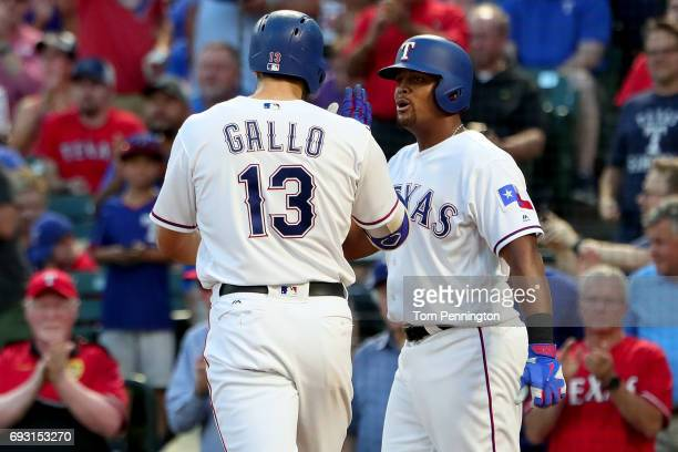 Joey Gallo of the Texas Rangers celebrates with Adrian Beltre of the Texas Rangers after hitting a two run homerun against the New York Mets in the...