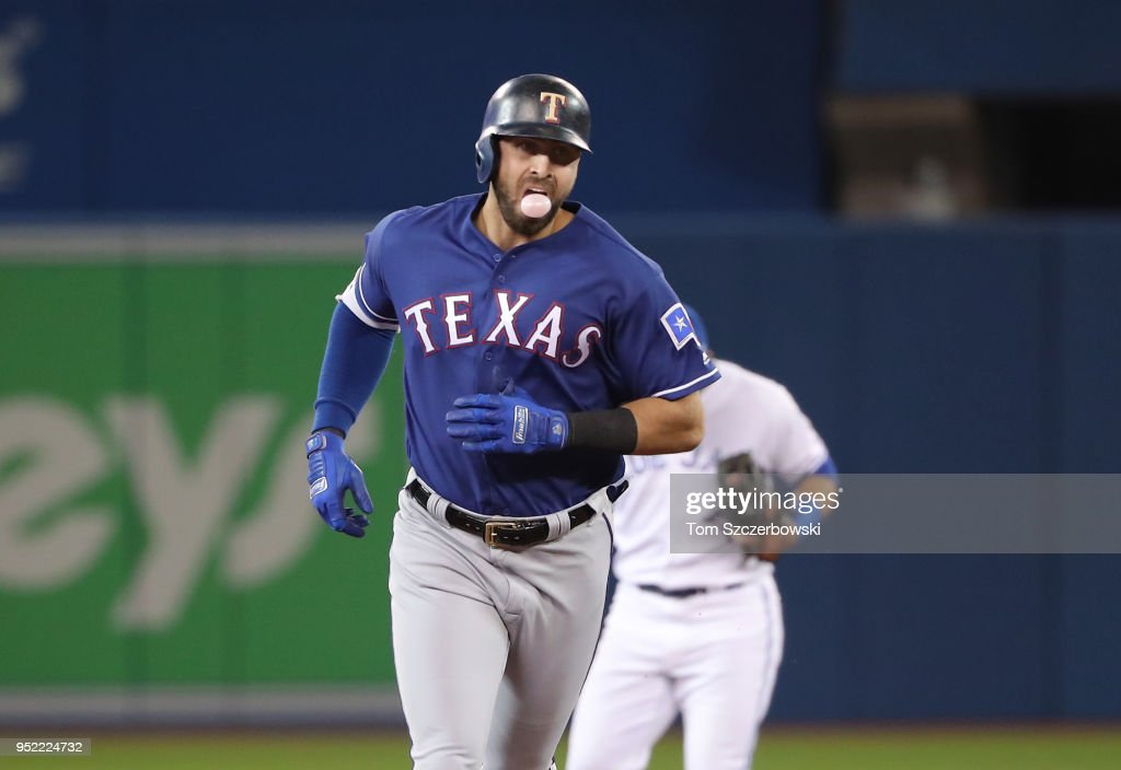 Joey Gallo #13 of the Texas Rangers circles the bases after hitting a two-run home run in the first inning during MLB game action against the Toronto Blue Jays at Rogers Centre on April 27, 2018 in Toronto, Canada.