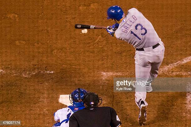 Joey Gallo of the Texas Rangers connects on a pitch from Luke Hochevar of the Kansas City Royals in the eighth inning at Kauffman Stadium on June 5...