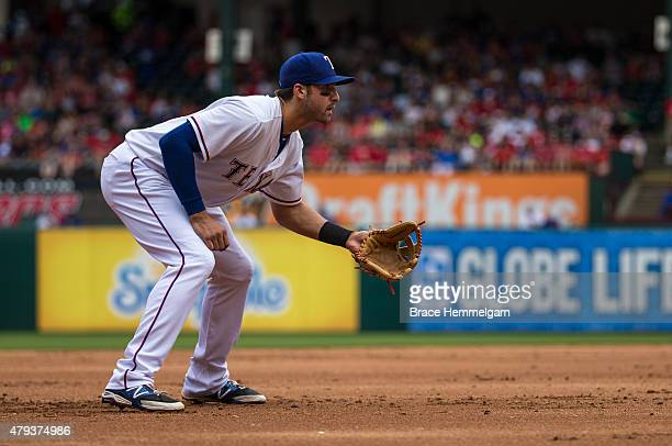 Joey Gallo of the Texas Rangers fields against the Minnesota Twins on June 14 2015 at Globe Life Park in Arlington Texas The Twins defeated the...