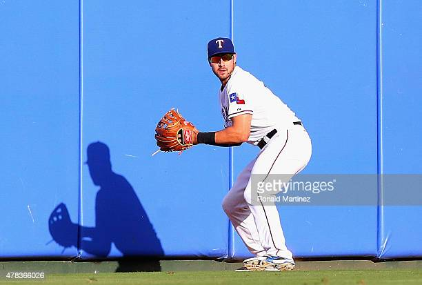 Joey Gallo of the Texas Rangers fields the hit by Stephen Vogt of the Oakland Athletics in the first inning at Globe Life Park in Arlington on June...