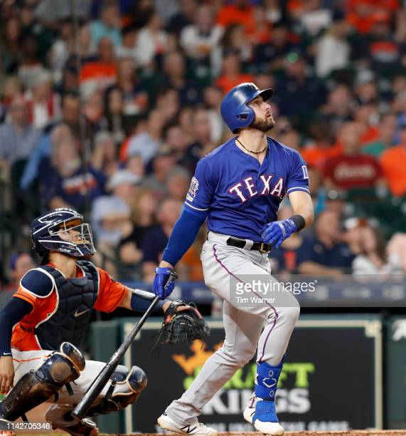 Joey Gallo of the Texas Rangers flies out to center field in the sixth inning against the Houston Astros at Minute Maid Park on May 10 2019 in...