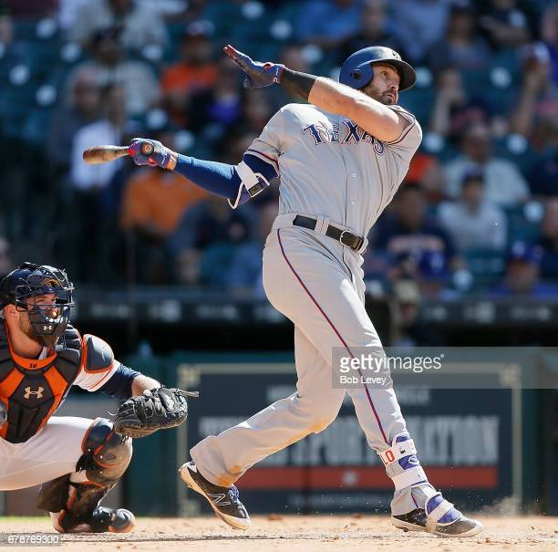 Joey Gallo of the Texas Rangers hits a home run in the eighth inning against the Houston Astros at Minute Maid Park on May 4 2017 in Houston Texas