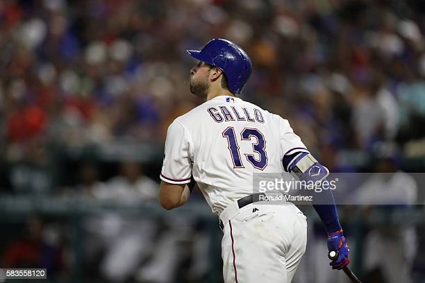 Joey Gallo of the Texas Rangers hits a homerun against the Oakland Athletics in the fifth inning at Globe Life Park in Arlington on July 26 2016 in...