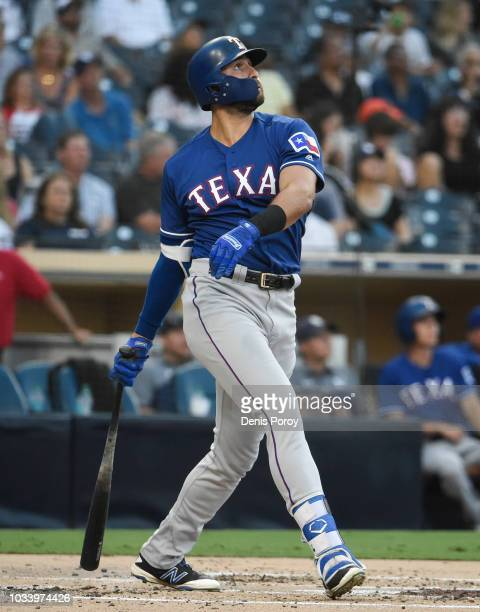 Joey Gallo of the Texas Rangers hits a solo home run during the second inning of a baseball game against the San Diego Padres at PETCO Park on...