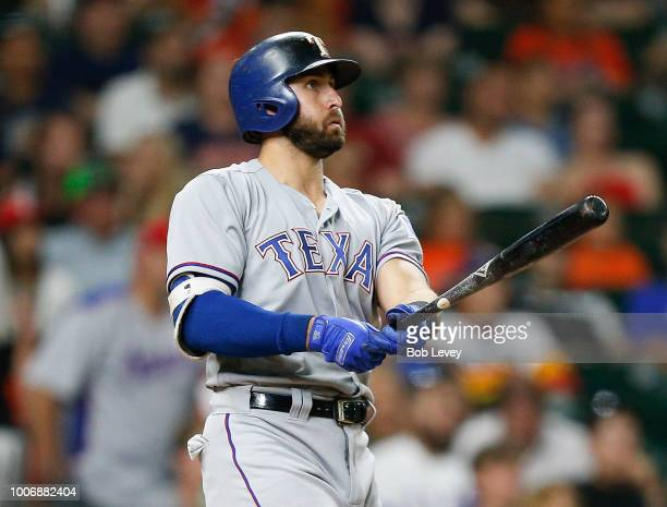 Joey Gallo of the Texas Rangers hits a threerun home run in the ninth inning against the Houston Astros at Minute Maid Park on July 28 2018 in...