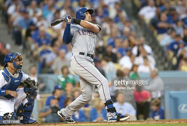 Joey Gallo of the Texas Rangers hits a two run home run in the third inning against the Los Angeles Dodgers at Dodger Stadium on June 17 2015 in Los...