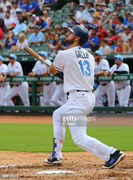 Joey Gallo of the Texas Rangers hits in the second inning against the Seattle Mariners at Globe Life Park in Arlington on June 17 2017 in Arlington...