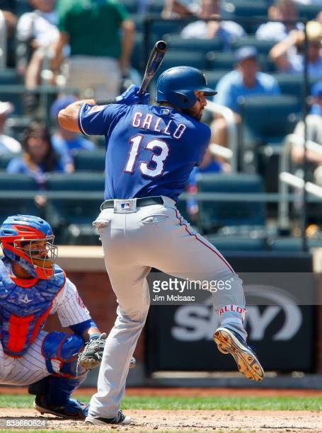 Joey Gallo of the Texas Rangers in action against the New York Mets at Citi Field on August 9 2017 in the Flushing neighborhood of the Queens borough...
