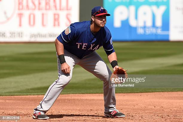 Joey Gallo of the Texas Rangers plays third base against the Kansas City Royals at Surprise Stadium on March 3 2016 in Surprise Arizona
