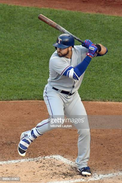 Joey Gallo of the Texas Rangers prepares for a pitch during a baseball game against the Washington Nationals at Nationals Park on June 9 2017 in...