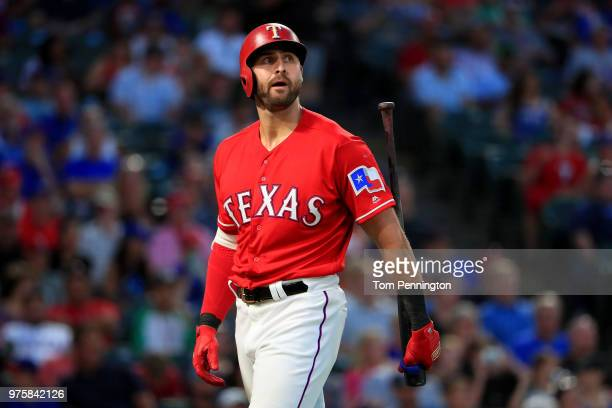 Joey Gallo of the Texas Rangers reacts after being called out looking against the Colorado Rockies in the bottom of the fourth inning at Globe Life...