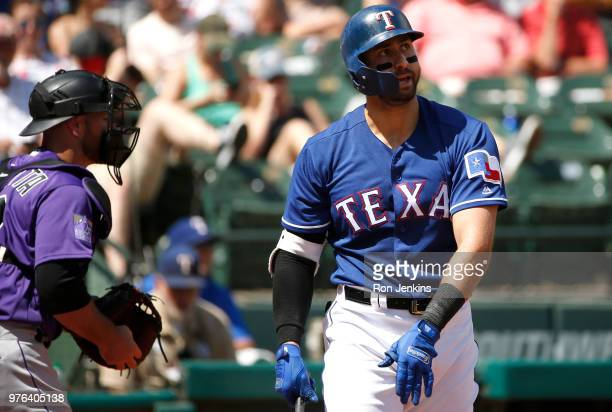 Joey Gallo of the Texas Rangers reacts after striking out against the Colorado Rockies to end the second inning at Globe Life Park in Arlington on...