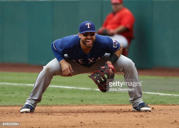 Joey Gallo of the Texas Rangers reacts to a pitch call from his first base position during the fifth inning of the MLB game against the Los Angeles...