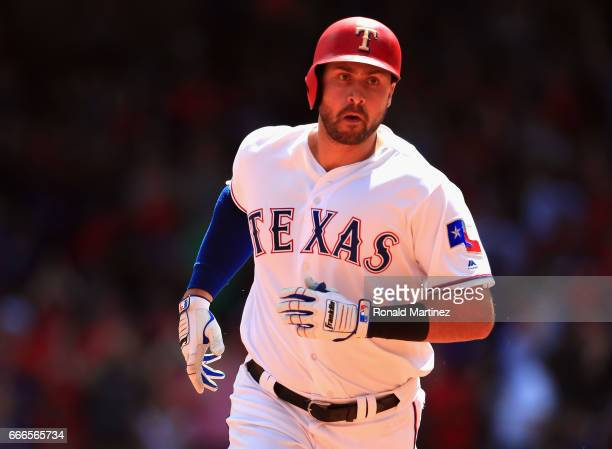 Joey Gallo of the Texas Rangers runs the bases after hitting a threerun home run in the second inning against the Oakland Athletics at Globe Life...