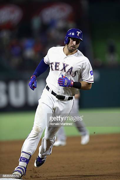 Joey Gallo of the Texas Rangers runs the bases after hitting a homerun against the Oakland Athletics in the fifth inning at Globe Life Park in...