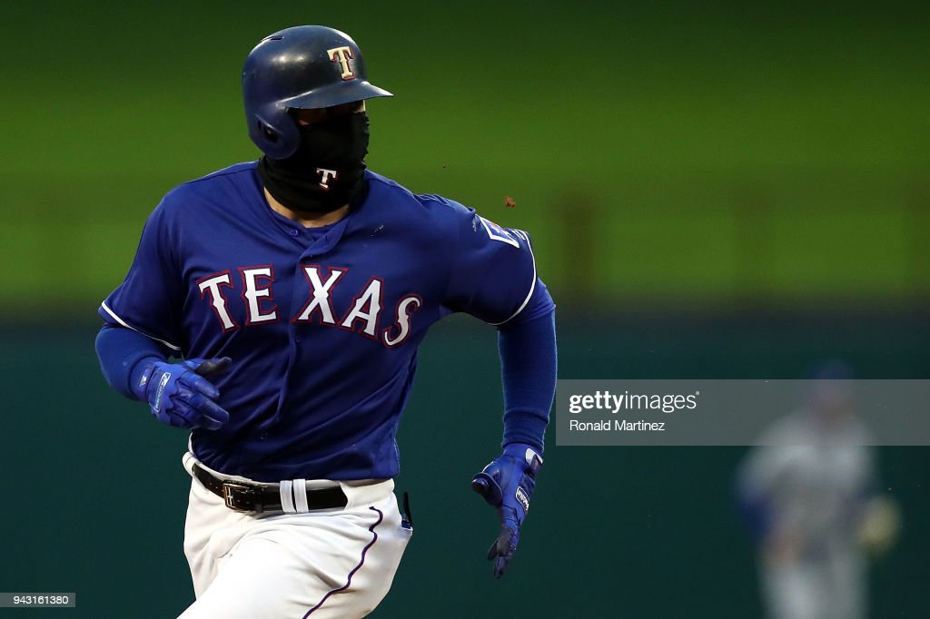 Joey Gallo #13 of the Texas Rangers runs to third base in the second inning against the Toronto Blue Jays at Globe Life Park in Arlington on April 7, 2018 in Arlington, Texas.