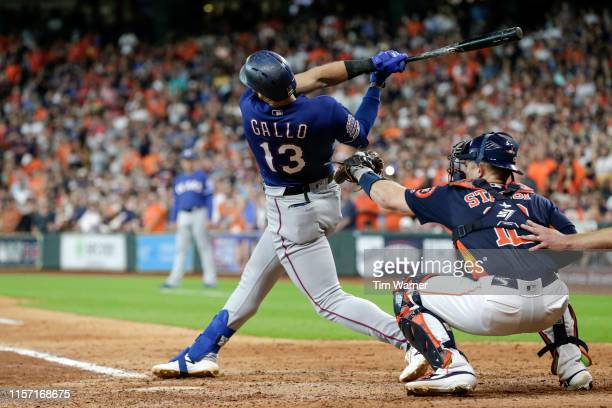 Joey Gallo of the Texas Rangers strikes out in the eighth inning against the Houston Astros at Minute Maid Park on July 21 2019 in Houston Texas