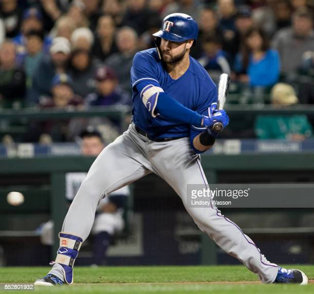 Joey Gallo of the Texas Rangers swings at a pitch during an atbat against the Seattle Mariners at Safeco Field on September 21 2017 in Seattle...