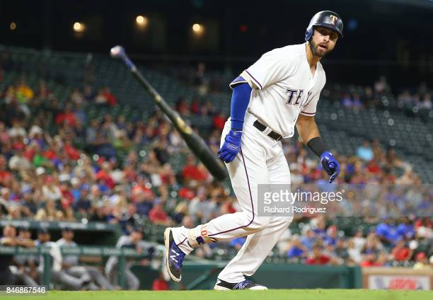 Joey Gallo of the Texas Rangers tosses his bat after drawing a walk against the Seattle Mariners at Globe Life Park in Arlington on September 11 2017...