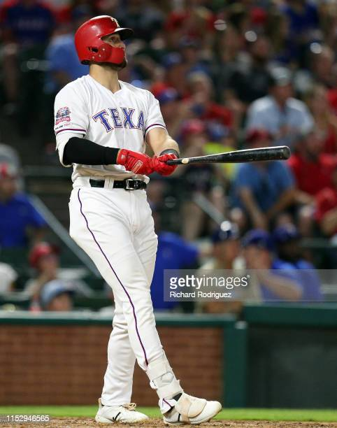 Joey Gallo of the Texas Rangers watches his grand slam home run against the Kansas City Royals in the sixth inning at Globe Life Park in Arlington on...