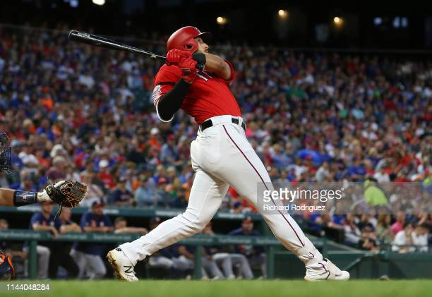 Joey Gallo of the Texas Rangers watches his home run shot in the third inning against the Houston Astros at Globe Life Park in Arlington on April 20...