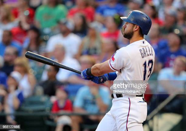Joey Gallo of the Texas Rangers watches the ball on a solo home run in the second inning of a baseball game agaisnt the Boston Red Sox at Globe Life...