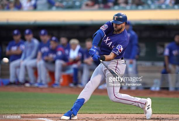 Joey Gallo of the Texas Rangersbats against the Oakland Athletics in the top of the first inning of a Major League Baseball game at OaklandAlameda...
