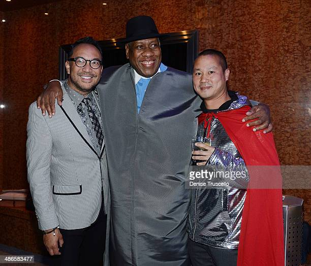 Joey Galon, Andre Leon Talley and Tony Hsieh attend Zappos Couture celebration of 20 years of fashion gallery & auction in support of Las Vegas DRESS...