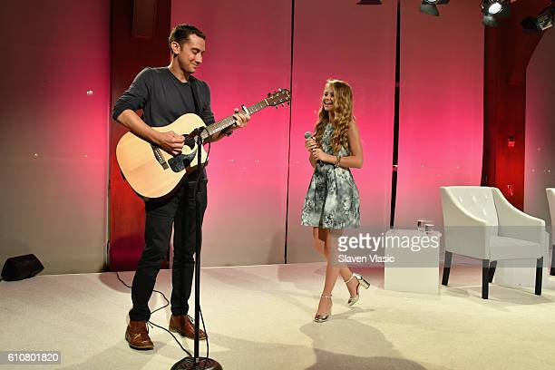 Joey Gandolfo and Tegan Marie perform on stage at The Girls' Lounge dinner giving visibility to women at Advertising Week 2016 at Pier 60 on...