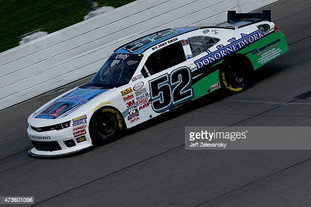 Joey Gase driver of the Iowa Donor Network Chevrolet practices for the NASCAR XFinity Series 3M 250 at Iowa Speedway on May 16 2015 in Newton Iowa