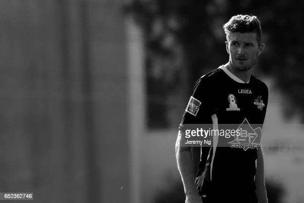 Joey Gibbs of Blacktown City FC looks on during the National Premier Leagues NSW Men's Round 1 match between Hakoah Sydney City East and Blacktown...
